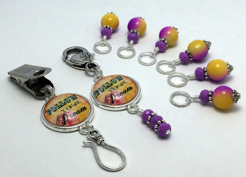 """Follow Your Dream"" Portuguese Knitting Pin & Stitch Marker Gift Set , Portugese Knitting Pin - Jill's Beaded Knit Bits, Jill's Beaded Knit Bits  - 9"