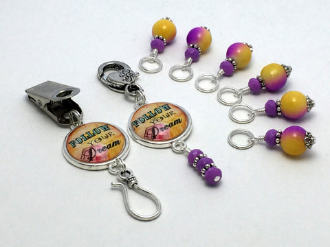 """Follow Your Dream"" Portuguese Knitting Pin & Stitch Marker Gift Set"