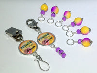 """Follow Your Dream"" Portuguese Knitting Pin & Stitch Marker Gift Set , Portugese Knitting Pin - Jill's Beaded Knit Bits, Jill's Beaded Knit Bits  - 3"