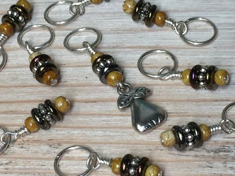 Golden Pear Stitch Marker Set , Stitch Markers - Jill's Beaded Knit Bits, Jill's Beaded Knit Bits  - 3