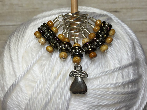 Golden Pear Stitch Marker Set , Stitch Markers - Jill's Beaded Knit Bits, Jill's Beaded Knit Bits  - 5