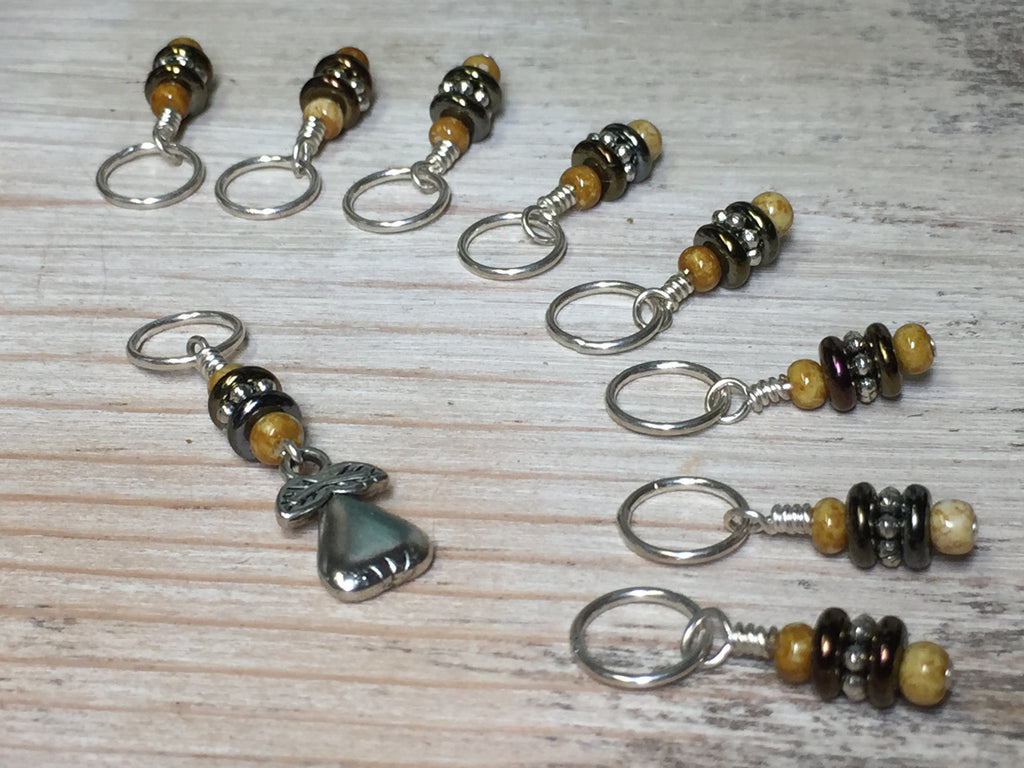 Golden Pear Stitch Marker Set , Stitch Markers - Jill's Beaded Knit Bits, Jill's Beaded Knit Bits  - 1
