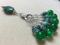 Green Agate & Cracked Glass Stitch Marker Holder Set- Snag Free , Stitch Markers - Jill's Beaded Knit Bits, Jill's Beaded Knit Bits  - 2