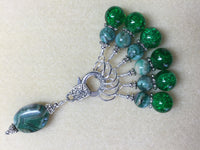 Green Agate & Cracked Glass Stitch Marker Holder Set- Snag Free , Stitch Markers - Jill's Beaded Knit Bits, Jill's Beaded Knit Bits  - 3