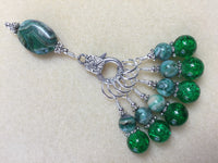 Green Agate & Cracked Glass Stitch Marker Holder Set- Snag Free , Stitch Markers - Jill's Beaded Knit Bits, Jill's Beaded Knit Bits  - 4