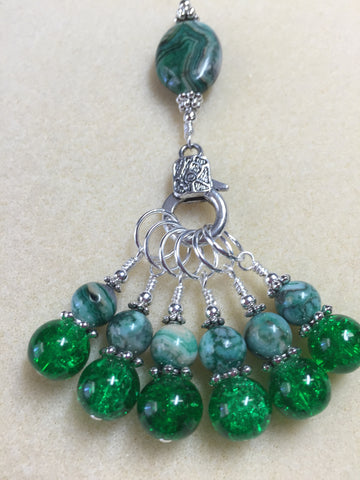 Green Agate & Cracked Glass Stitch Marker Holder Set- Snag Free , Stitch Markers - Jill's Beaded Knit Bits, Jill's Beaded Knit Bits  - 5