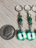 Green Apple Slice Stitch Markers , Stitch Markers - Jill's Beaded Knit Bits, Jill's Beaded Knit Bits  - 4