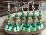 Green Apple Slice Stitch Markers , Stitch Markers - Jill's Beaded Knit Bits, Jill's Beaded Knit Bits  - 5