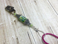 Portuguese Knitting Pin with Green Swirl Design- Clip on ID Badge Pin , Portugese Knitting Pin - Jill's Beaded Knit Bits, Jill's Beaded Knit Bits  - 8