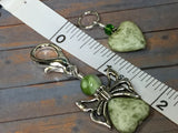 Green Heart Stitch Markers with Butterfly Holder , Stitch Markers - Jill's Beaded Knit Bits, Jill's Beaded Knit Bits  - 4