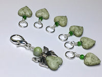 Green Heart Stitch Markers with Butterfly Holder , Stitch Markers - Jill's Beaded Knit Bits, Jill's Beaded Knit Bits  - 2