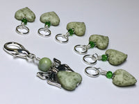Green Heart Stitch Markers with Butterfly Holder , Stitch Markers - Jill's Beaded Knit Bits, Jill's Beaded Knit Bits  - 6