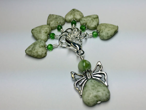 Green Heart Stitch Markers with Butterfly Holder , Stitch Markers - Jill's Beaded Knit Bits, Jill's Beaded Knit Bits  - 1
