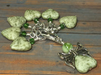Green Heart Stitch Markers with Butterfly Holder , Stitch Markers - Jill's Beaded Knit Bits, Jill's Beaded Knit Bits  - 8