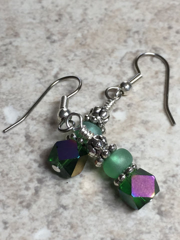 Green Cube Crystal Earrings , jewelry - Jill's Beaded Knit Bits, Jill's Beaded Knit Bits  - 8