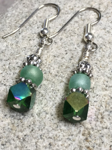 Green Cube Crystal Earrings , jewelry - Jill's Beaded Knit Bits, Jill's Beaded Knit Bits  - 4