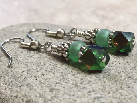 Green Cube Crystal Earrings