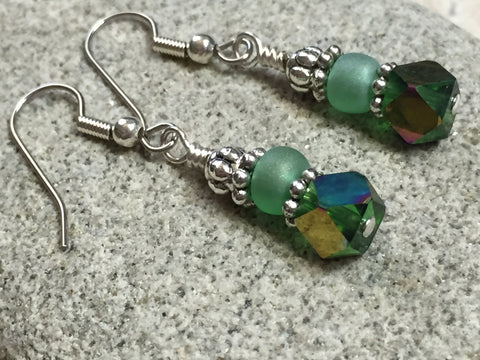 Green Cube Crystal Earrings , jewelry - Jill's Beaded Knit Bits, Jill's Beaded Knit Bits  - 5