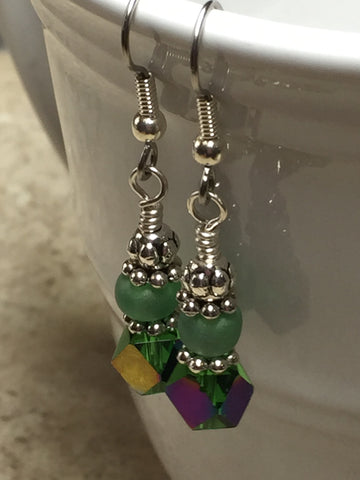 Green Cube Crystal Earrings , jewelry - Jill's Beaded Knit Bits, Jill's Beaded Knit Bits  - 7