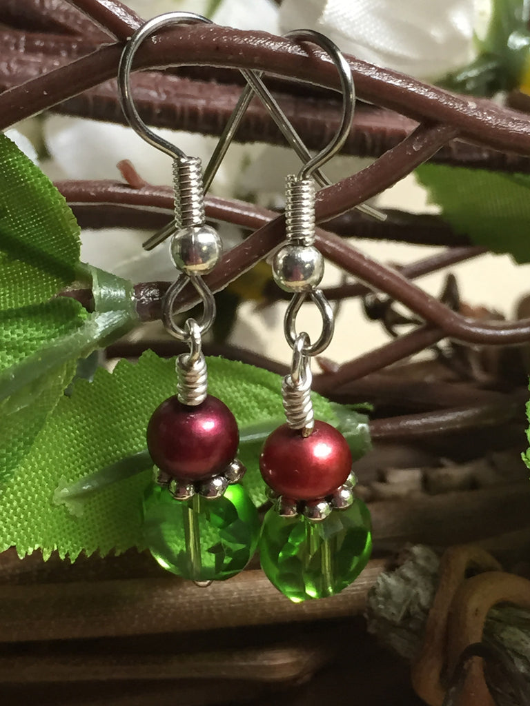 Green Crystal Drop Earrings , jewelry - Jill's Beaded Knit Bits, Jill's Beaded Knit Bits  - 1