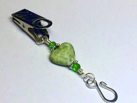 Portuguese Knitting Pin- Green Heart Clip on Pin , Portugese Knitting Pin - Jill's Beaded Knit Bits, Jill's Beaded Knit Bits  - 1