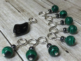 Malachite Green Snag Free Stitch Marker Set , Stitch Markers - Jill's Beaded Knit Bits, Jill's Beaded Knit Bits  - 3