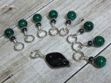 Malachite Green Snag Free Stitch Marker Set , Stitch Markers - Jill's Beaded Knit Bits, Jill's Beaded Knit Bits  - 10