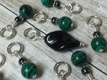 Malachite Green Snag Free Stitch Marker Set , Stitch Markers - Jill's Beaded Knit Bits, Jill's Beaded Knit Bits  - 4