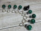 Malachite Green Snag Free Stitch Marker Set , Stitch Markers - Jill's Beaded Knit Bits, Jill's Beaded Knit Bits  - 2