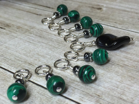 Malachite Green Snag Free Stitch Marker Set , Stitch Markers - Jill's Beaded Knit Bits, Jill's Beaded Knit Bits  - 8