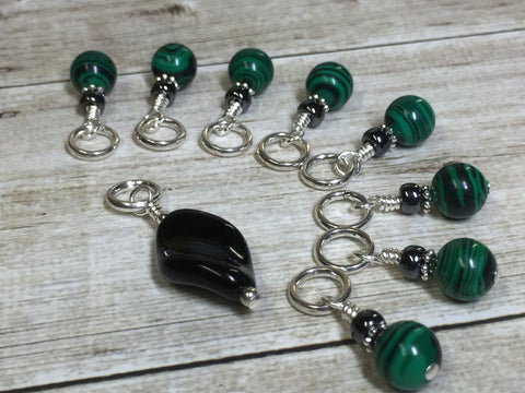 Malachite Green Snag Free Stitch Marker Set , Stitch Markers - Jill's Beaded Knit Bits, Jill's Beaded Knit Bits  - 9