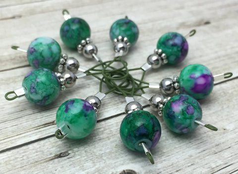 Mottled Green Wire Loop Stitch Markers , Stitch Markers - Jill's Beaded Knit Bits, Jill's Beaded Knit Bits  - 2