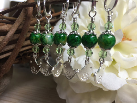 Silver-Bird-Stitch-Markers-Green-Beads , Stitch Markers - Jill's Beaded Knit Bits, Jill's Beaded Knit Bits  - 5