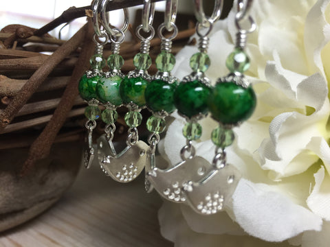 Silver-Bird-Stitch-Markers-Green-Beads , Stitch Markers - Jill's Beaded Knit Bits, Jill's Beaded Knit Bits  - 6