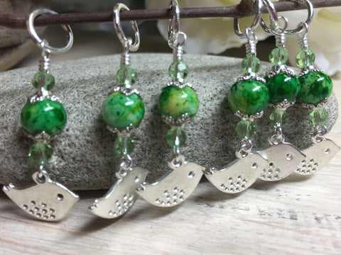 Silver-Bird-Stitch-Markers-Green-Beads , Stitch Markers - Jill's Beaded Knit Bits, Jill's Beaded Knit Bits  - 7