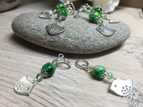 Silver-Bird-Stitch-Markers-Green-Beads , Stitch Markers - Jill's Beaded Knit Bits, Jill's Beaded Knit Bits  - 8