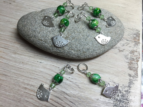 Silver-Bird-Stitch-Markers-Green-Beads , Stitch Markers - Jill's Beaded Knit Bits, Jill's Beaded Knit Bits  - 3