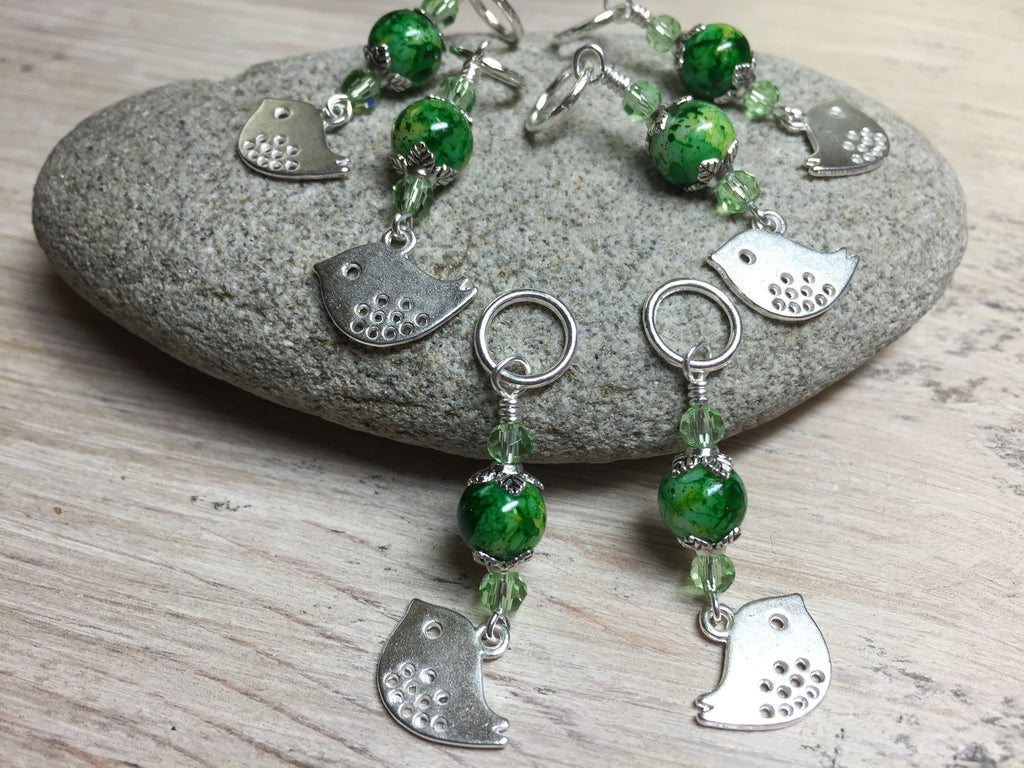 Silver-Bird-Stitch-Markers-Green-Beads , Stitch Markers - Jill's Beaded Knit Bits, Jill's Beaded Knit Bits  - 1