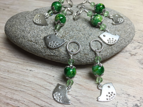 Silver-Bird-Stitch-Markers-Green-Beads