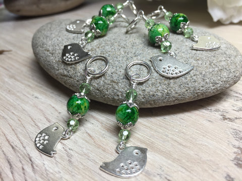 Silver-Bird-Stitch-Markers-Green-Beads , Stitch Markers - Jill's Beaded Knit Bits, Jill's Beaded Knit Bits  - 2