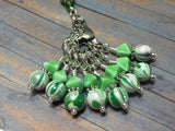 Knitting Bag Lanyard & Stitch Markers- Green Stripes , Stitch Markers - Jill's Beaded Knit Bits, Jill's Beaded Knit Bits  - 4
