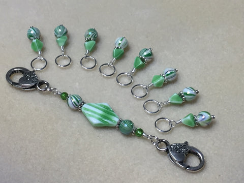 Knitting Bag Lanyard & Stitch Markers- Green Stripes , Stitch Markers - Jill's Beaded Knit Bits, Jill's Beaded Knit Bits  - 1