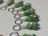 Knitting Bag Lanyard & Stitch Markers- Green Stripes , Stitch Markers - Jill's Beaded Knit Bits, Jill's Beaded Knit Bits  - 5