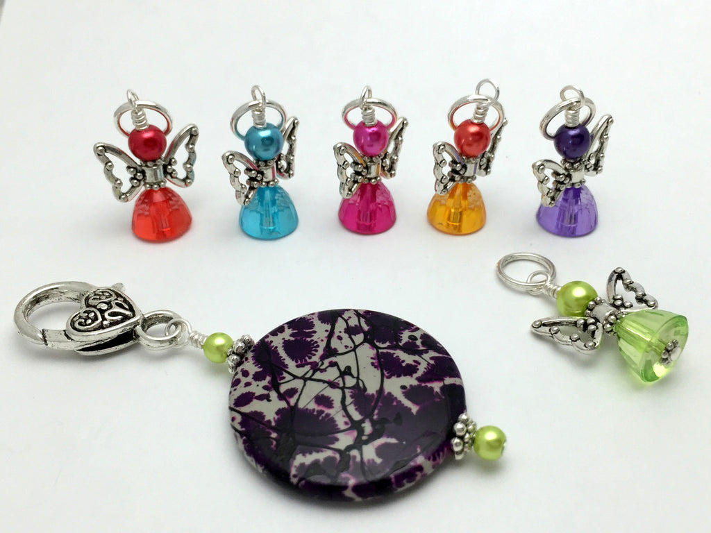Rainbow Angels Stitch Marker Set with Holder , Stitch Markers - Jill's Beaded Knit Bits, Jill's Beaded Knit Bits  - 1