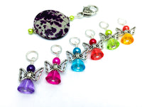 Rainbow Angels Stitch Marker Set with Holder