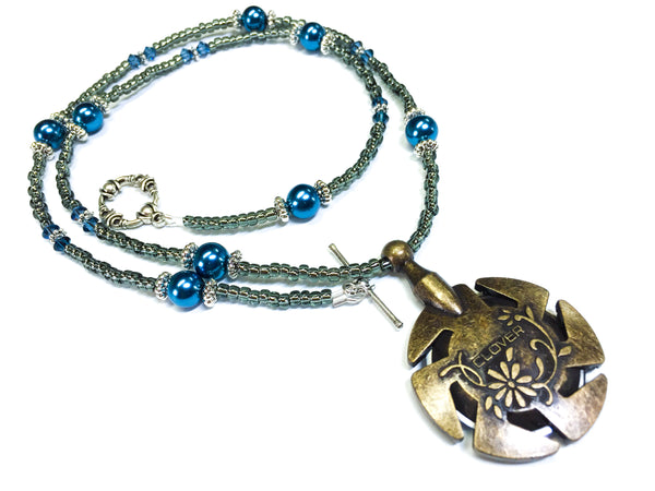 Yarn Cutter Pendant Necklace- Gunmetal Blue
