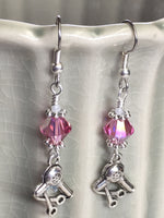 Hairstylist Beaded Dangle Earrings- Pink French Hook Wire Earrings , jewelry - Jill's Beaded Knit Bits, Jill's Beaded Knit Bits  - 7