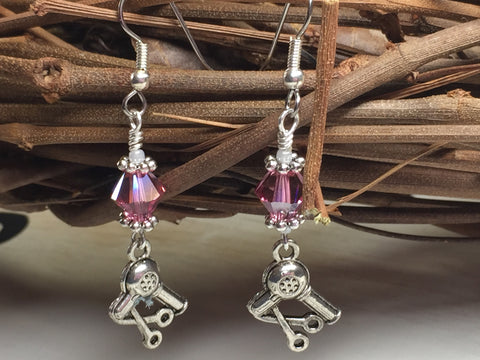Hairstylist Beaded Dangle Earrings- Pink French Hook Wire Earrings