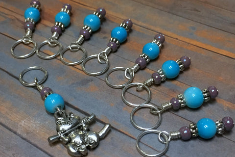 Kitten Stitch Marker Set- Blue , Stitch Markers - Jill's Beaded Knit Bits, Jill's Beaded Knit Bits  - 5