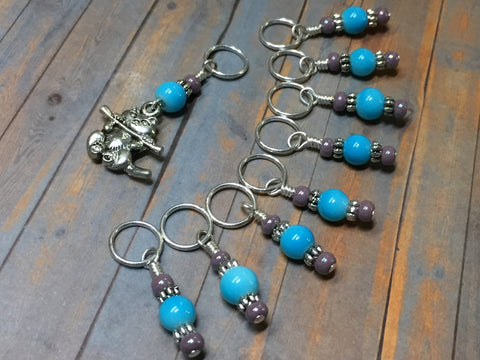Kitten Stitch Marker Set- Blue , Stitch Markers - Jill's Beaded Knit Bits, Jill's Beaded Knit Bits  - 10